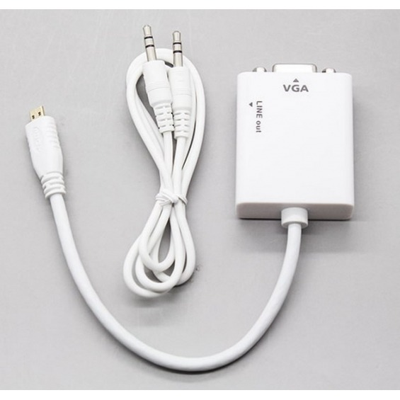 Cable conversor de microHDMI a VGA + Audio jack de 3.5mm
