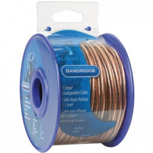 Cable de altavoz de 1,5 mm², 20,0 m transparente