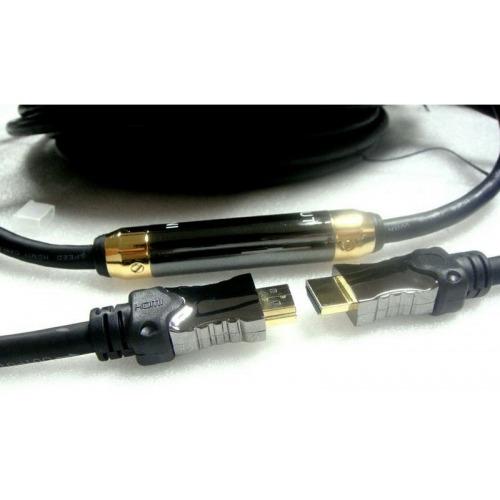 Super Cable hdmi con Extender Autoalimentado- 40m - nylon ( COLOR Azul) + conectores aluminio