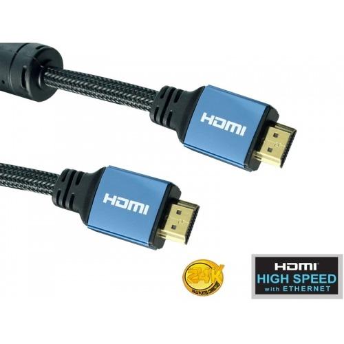 Super Cable hdmi High Speed with ethernet- 1,5m - ferrita + nylon + conectores aluminio (M/M)