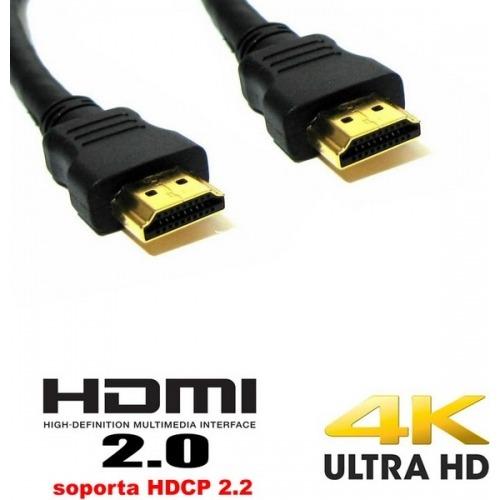 Cable HDMI negro versión 2.0 ultra HD - 1.00m