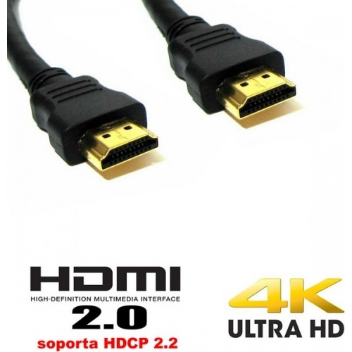 Cable HDMI negro versión 2.0 ultra HD - 10.00m
