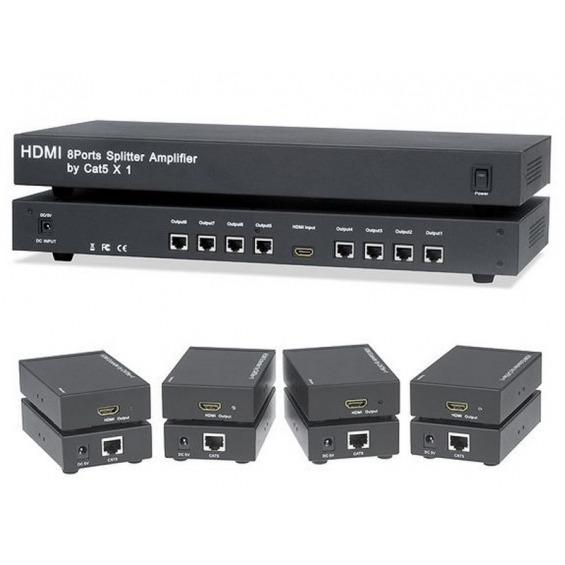 Splitter 1x8 & 8 extender HDMI 1 cable CAT5e/6 máximo 50 M