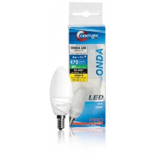 Bombilla LED de vela, 6W, base E14