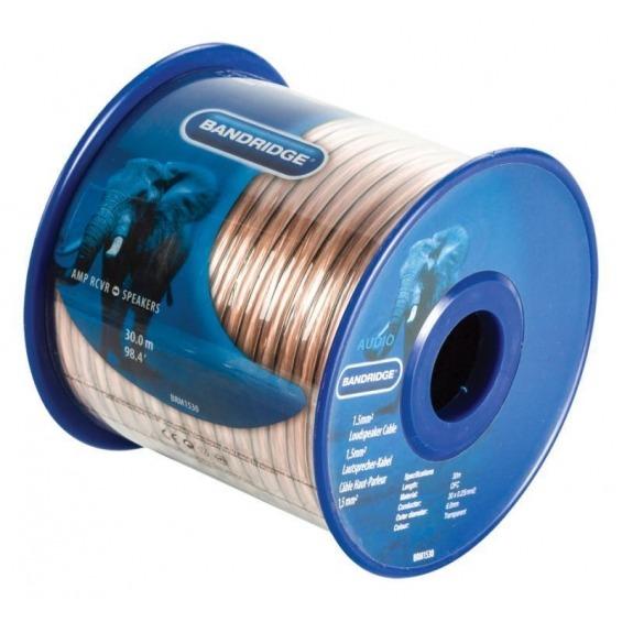 Cable de altavoz de 1,5 mm², 30,0 m transparente