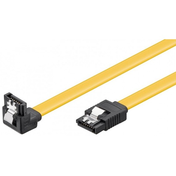 Datos SATA III 6Gb bloq. 90º Amarillo 0,10m