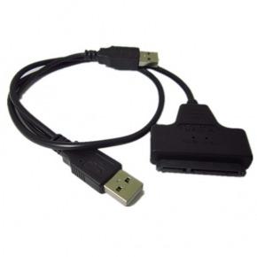 Mini adaptador portatil de SATA a dual POWER USB 2.0