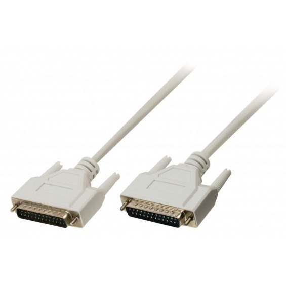 Cable serie de 25 hilos, con conectores DB25-Macho en ambos extremos. Longitud del cable de 2 m.