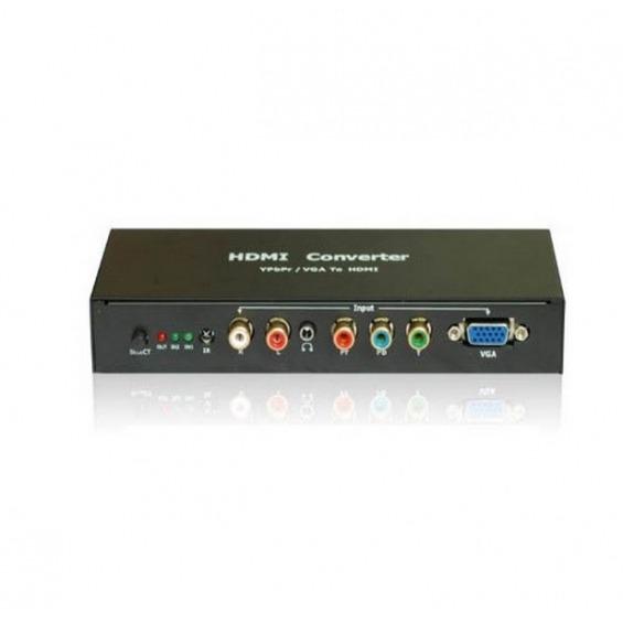 Conversor y Escalador de VGA, Componentes de Video (YPbPr) y RCA L/R a HDMI 720P, 1080 i HDReady