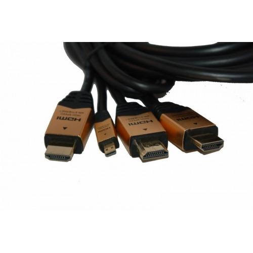 Conmutador en cable 2 x HDMI macho + 1 x Micro HDMI macho a HDMI macho
