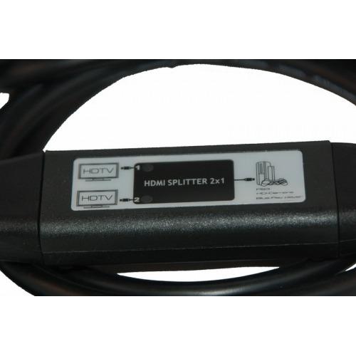 Repartidor en cable 1 x HDMI macho a 1 x HDMI macho + HDMI hembra