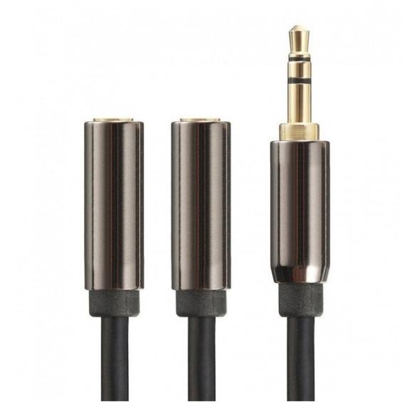 Cable jack 3.5mm macho a 2 jack 3.5mm hembra de 1m apantallado