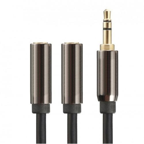 Cable jack 3.5mm macho a 2 jack 3.5mm hembra de 0.50m apantallado