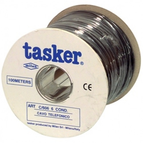 Cable de teléfono con 6 conductores en bobina de 100m en color negro