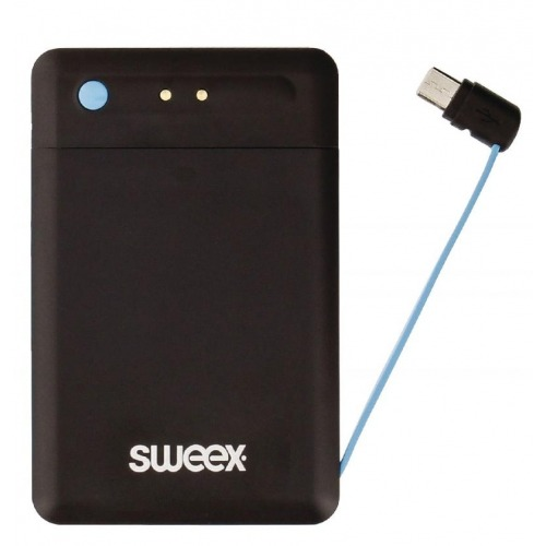 Batería externa ultraplana de 2500 mAh con cable Micro USB integrado