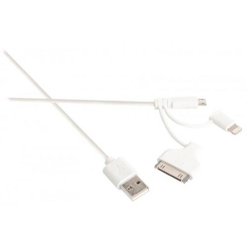 Cable de carga y sincronización Sweex 3 en 1 USB 2.0 A macho - micro B macho + adaptador Lightning