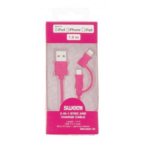 Cable de carga y sincronización USB 2.0 A 2 en 1 macho - micro B macho + adaptador Lightning de 1,