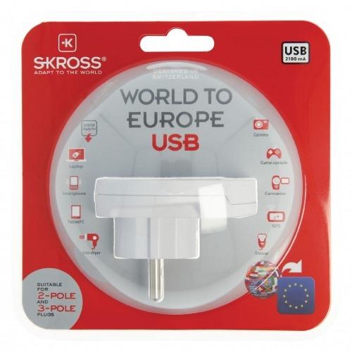 Adaptador de Viaje World-to-Europe USB Earthed