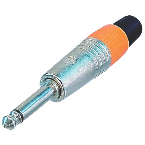 Conector Mono 6.35 mm Macho Metal Plata