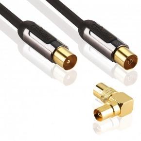 Coax cable male - female 3.00 m black