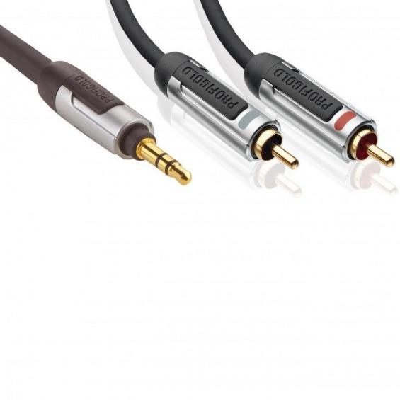 Cable de audio estéreo, 3,5 mm macho – 2 x RCA macho, 3,00 m, negro