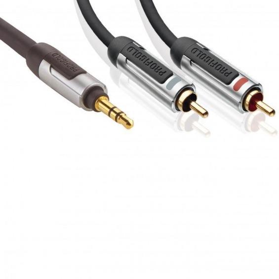 Cable de audio estéreo, 3,5 mm macho – 2 x RCA macho, 2,00 m, negro
