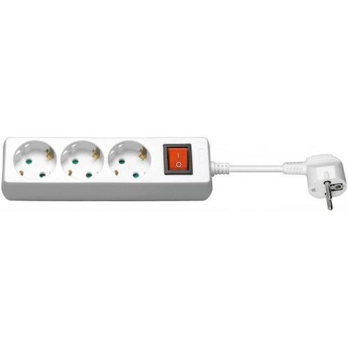 Regleta CA con interruptor 3 metros, blanca, 3 tomas