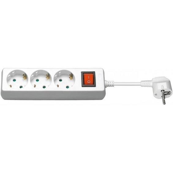Regleta CA con interruptor 1,5 metros, blanca, 3 tomas