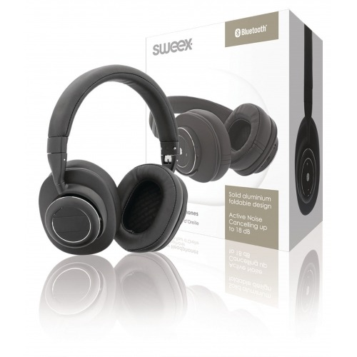 Auriculares Supraurales ANC (cancelación de ruido activa) Bluetooth con Micrófono Integrado en Color Negro/Plata