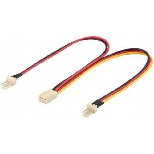 Cable de alimentación para ventilador de PC; 3 pins macho / hembra - 2 Ventilador macho (3 pins)> Ventilador hembra (3 pins)