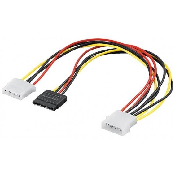 Cable interno para PC conector S-ATA macho 1x molex macho y 1 molex hembra
