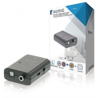 Convertidor De Audio Rca Estéreo A Digital, 2X Rca Hembra - Toslink Hembra + S/pdif Hembra, Gris Oscuro