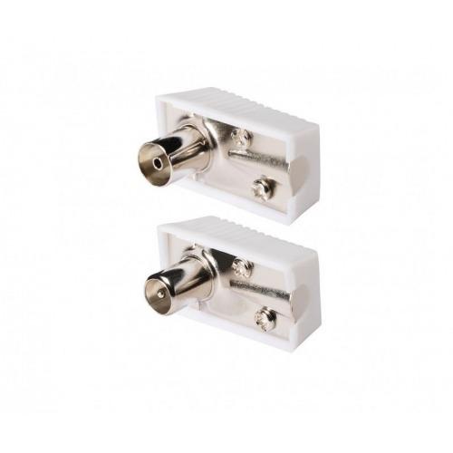 Conector coaxial de coaxial macho en ángulo a hembra en ángulo, 2 uds. en blanco