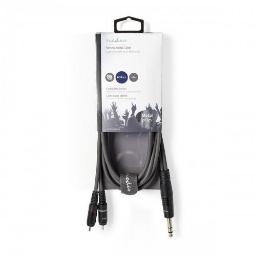 Cable de Audio Estéreo   6,35 mm Macho - 2x RCA Macho   1,5 m   Gris