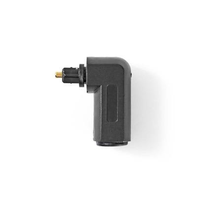 Adaptador De Audio Óptico En Ángulo De 90°   Toslink Macho - Toslink Hembra   10 Unidades   Negro