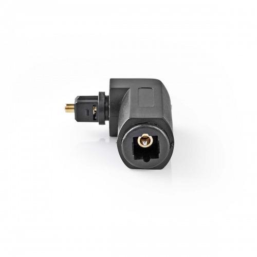 Adaptador de Audio Óptico en Ángulo de 90° | TosLink macho - TosLink hembra | 10 unidades | Negro