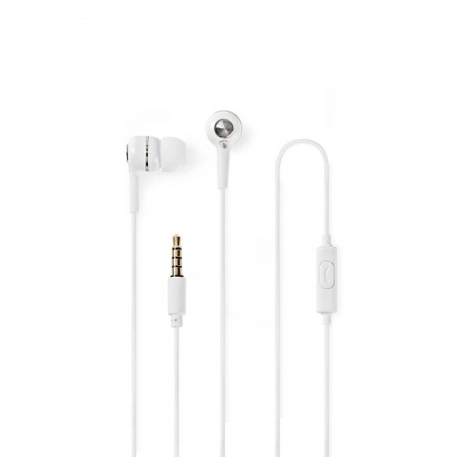 Wired Headphones | 1.2m Round Cable | In-Ear | Built-in Microphone | White