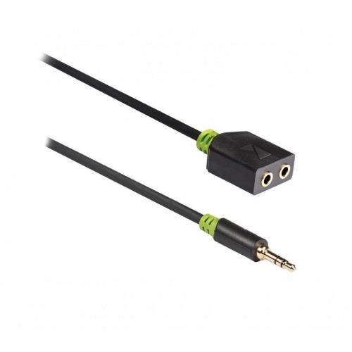 Cable divisor de audio estéreo de 3,5mm macho a 2x hembra de 0,20m en gris