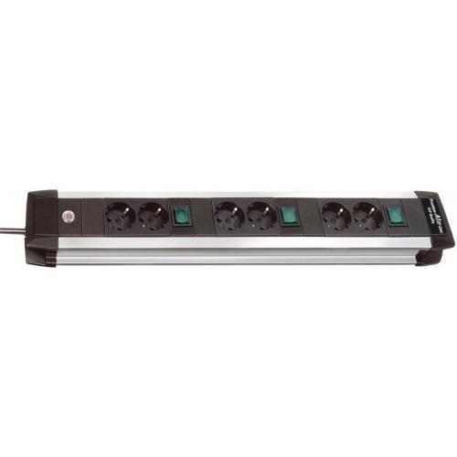 Premium-Alu-Line Technics extension socket 3x2-way 3m H05VV-F 3G1,5 every 2 sockets switched