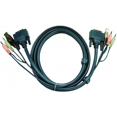 Cable Kvm Dvi-D 18+1-Pin Macho / Usb A Macho / 2X 3.5 Mm Macho - Dvi-D 18+1-Pin Macho / Usb A Macho / 2X 3.5 Mm Macho 1.8 M