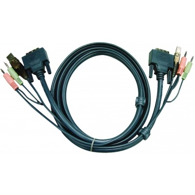 Cable Kvm Dvi-D 18+1-Pin Macho / Usb A Macho / 2X 3.5 Mm Macho - Dvi-D 18+1-Pin Macho / Usb A Macho / 2X 3.5 Mm Macho 3.0 M