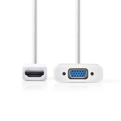 Cable Hdmi™-Vga | Conector Hdmi™ - Vga Hembra + Salida De 3,5 Mm | 0,2 M | Blanco