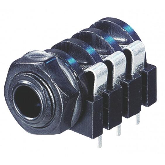Conector Estéreo 6.35 mm Hembra PVC Negro
