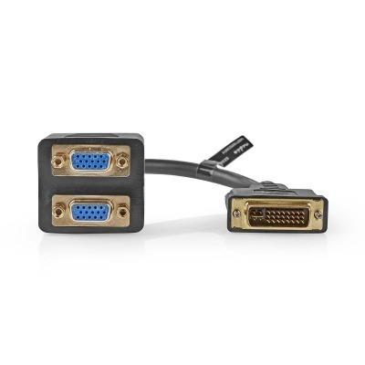 Cable Adaptador Dvi | Dvi-I Macho De 24+5 Pines - 2X Vga Hembra | 0,2 M | Negro