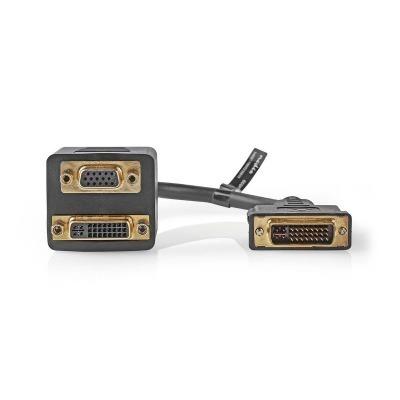 Cable Adaptador Dvi | Dvi-I Macho De 24+5 Pines - Dvi-I Hembra 24+5 Pines + Vga Hembra | 0,2 M | Negro
