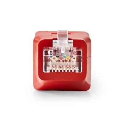 Adaptador De Red Cruzado Cat6 | Rj45 Macho - Rj45 Hembra | Rojo