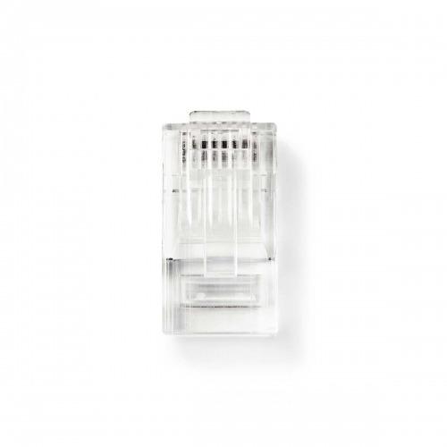 Conector de Red | RJ45 Macho - Para Cables CAT5 UTP Trenzados | 10 unidades | Transparente