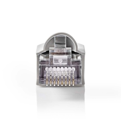 Set De Conectores De Red | Rj45 Macho + Funda Protectora Contra Tirones - Para Cables Cat5 Utp Sólidos | 10 Unidades | Gris