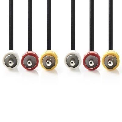 Cable De Vídeo Compuesto | 3X Rca Macho - 3X Rca Macho | 1,0 M | Negro