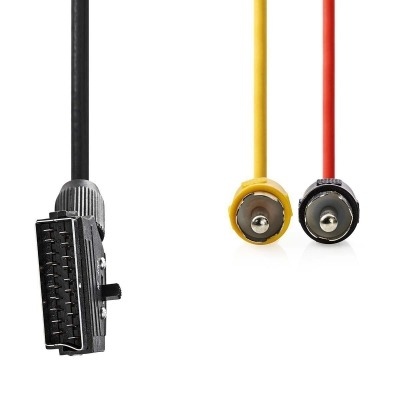 Cable Scart Conmutable | Scart Macho - 2X Rca Macho | 2,0 M | Negro